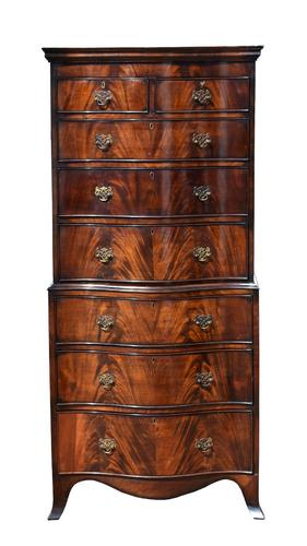 Antique Flame Mahogany Serpentine Chest On Chest (1 of 6)