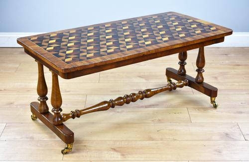 Victorian Walnut & Parquetry Inlaid Coffee Table (1 of 7)
