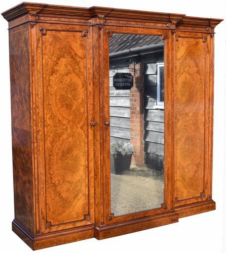 Victorian Burr Walnut Breakfront Three Door Wardrobe (1 of 1)