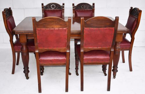 Edwardian Walnut Dining Table & 6 Dining Chairs (1 of 1)