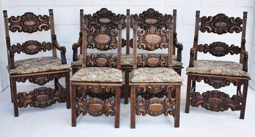 Solid Carved Oak Lounge Suite c.1870 (1 of 1)