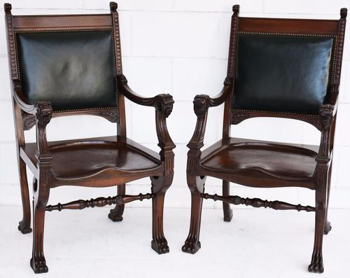 Pair of William IV Carved Mahogany Dining Chairs (1 of 1)