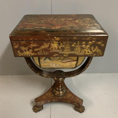 Regency Chinoiserie Sewing Table with Original Silk Sewing Bag (1 of 10)