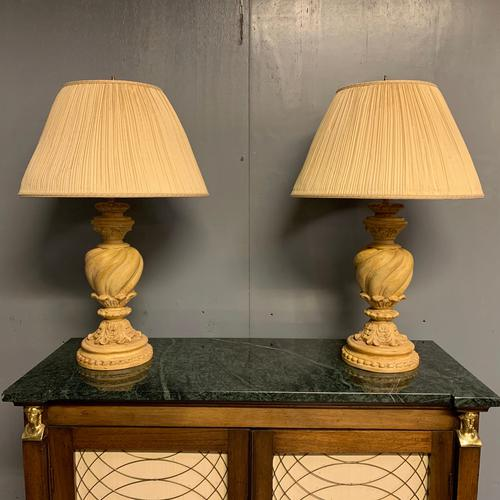 Pair of Vintage Plaster Lamps & Shades (1 of 7)