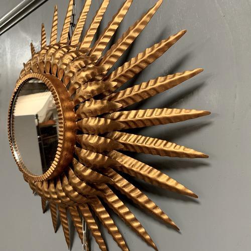 Spanish Sunburst Mirror in Gilt Toleware (1 of 6)