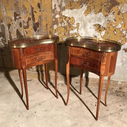 Pair of French Kidney Shape Side Tables c.1920 (1 of 1)