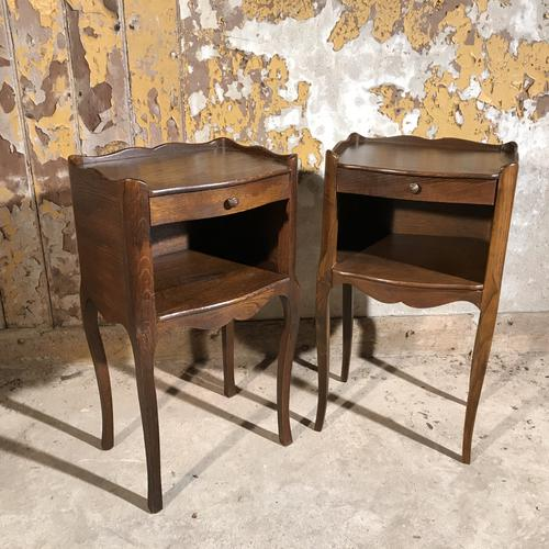 Pair of French Oak Bedside Tables (1 of 1)