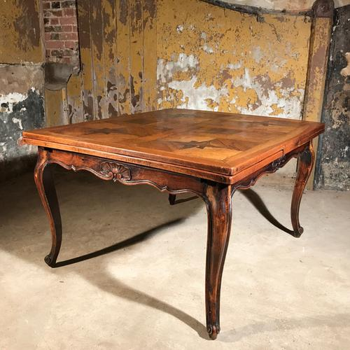 Large French Extending Dining Table with Parquetry Top C.1900 (1 of 1)
