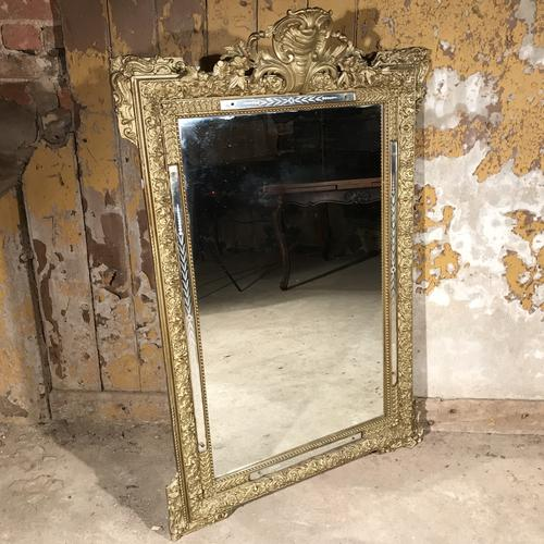 French Gilt Overmantle Mirror with Original Glass c.1920 (1 of 1)