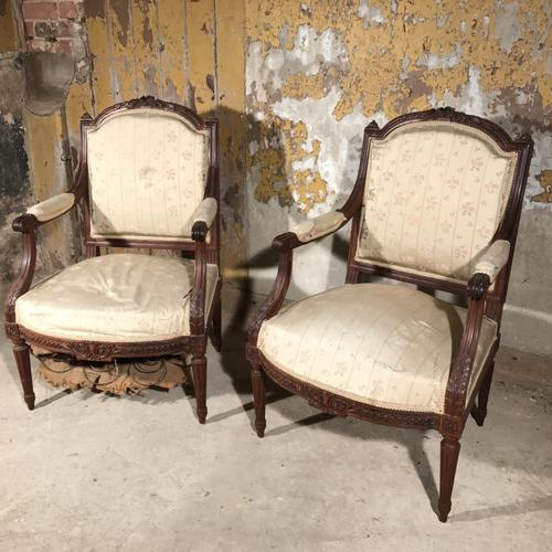 Pair of French Rosewood Armchairs for re-upholstery (1 of 1)