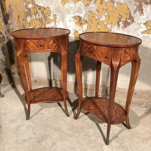 Pair of French Marquetry Oval Side Tables C.1920 (1 of 1)