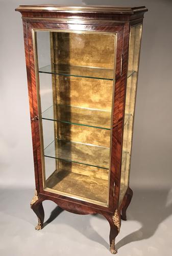 Impressive French Kingwood & Brass Inlaid Display Cabinet C.1900 (1 of 1)