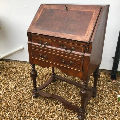 William & Mary Style Small Walnut Bureau c.1860 (1 of 1)