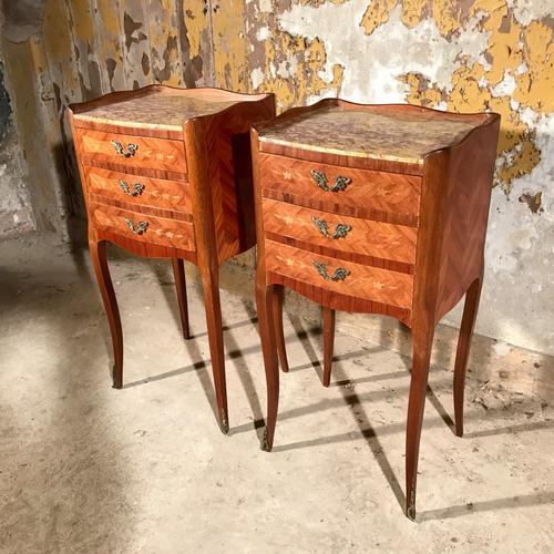 Pair of French Marquetry and Marble Bedside Tables c.1920 (1 of 1)