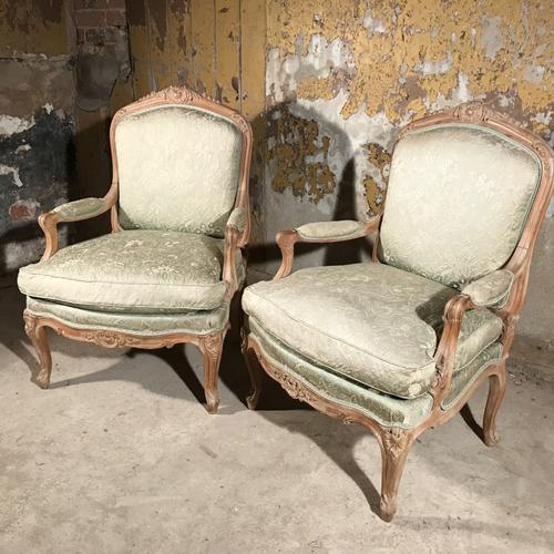 Pair of French Bleached Louis XV Style Armchairs (1 of 1)