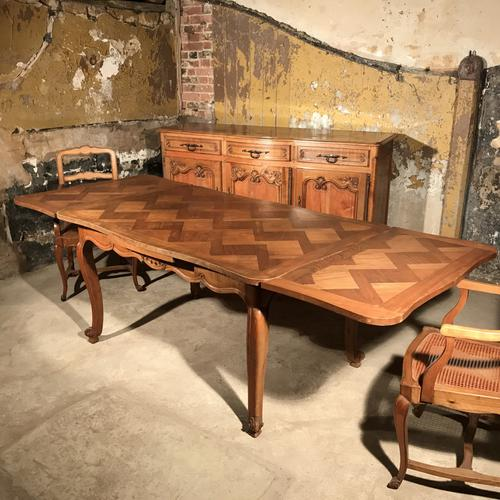 French Cherry Parquet Extending Dining Table c.1920 (1 of 1)