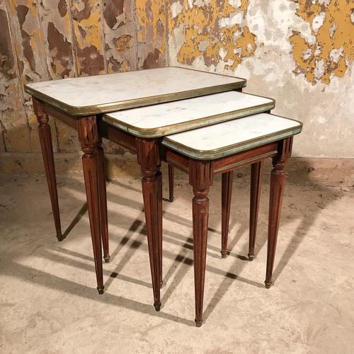 Nest of French Mahogany & Marble Tables with Brass (1 of 1)