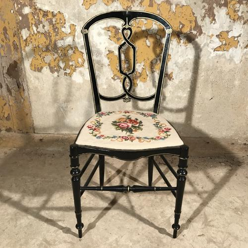 French Black Lacquered & Gilt Chair c.1920 (1 of 1)
