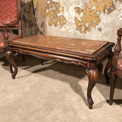 French Walnut & Marble Top Coffee Table c.1920 (1 of 1)
