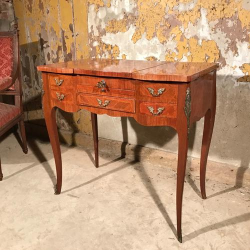 French Marquetry Dressing Table with Mirror c.1920 (1 of 1)