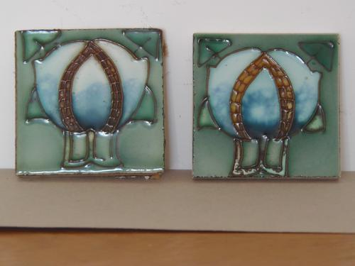 Arts & Crafts Tubelined Pair of Tiles (1 of 1)