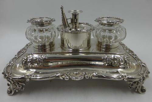 Antique William IV Silver Inkstand. London 1832 (1 of 20)