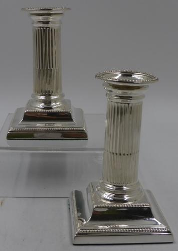 Pair of Antique Victorian Silver Candlesticks. Sheffield 1879 (1 of 8)