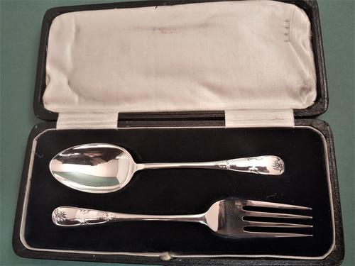 Lovely Antique Silver Child's Spoon & Fork Set (1 of 1)