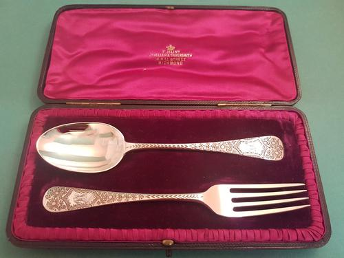 Beautiful Antique Edwardian Silver Child's Cutlery Set (1 of 1)