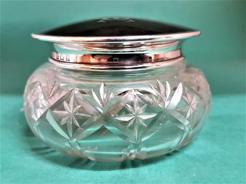 Beautiful Tortoiseshell & Silver Top Glass Jar (1 of 1)