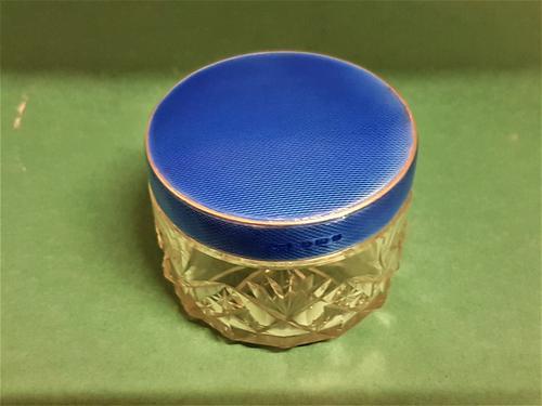 Beautiful Bright Blue Enamel & Silver Top Jar (1 of 1)
