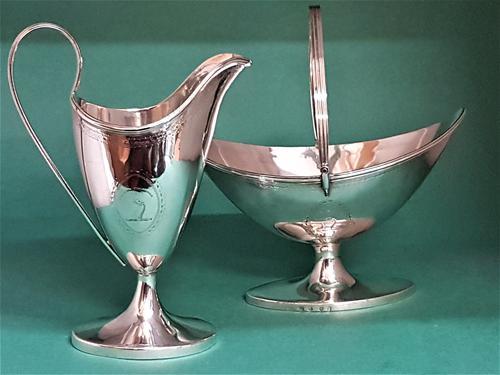 Antique George III Scottish Silver Sugar & Cream (1 of 1)