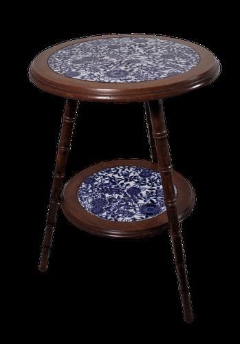 Walnut & Ceramic Side Tables (1 of 4)