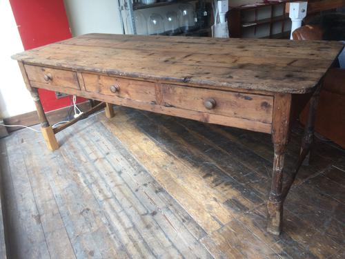 Large Antique Pine Kitchen Dining Table c.1900 (1 of 1)