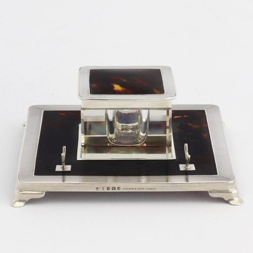 Art Deco Silver & Tortoiseshell Inkwell with Stand by Mappin & Webb 1929 (1 of 11)