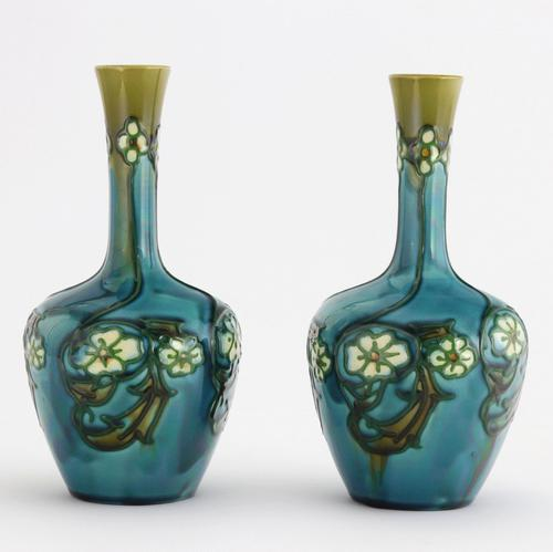 Pair of Minton Secessionist Tubeline Decorated Turquoise Vases C1900 (1 of 10)