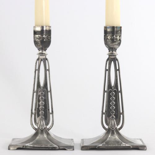 Pair of Wmf Antique Silver Plated Candlesticks in the Secessionist Style C1890 (1 of 10)