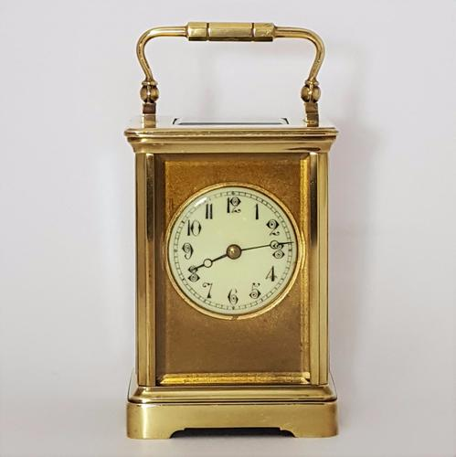 French Brass Corniche Cased Masked Striking Carriage Clock C.1900 (1 of 1)
