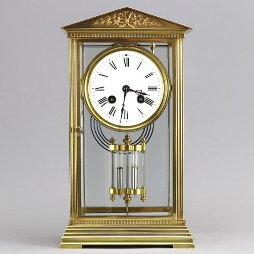 French Four Glass Brass Mantle Clock by Couaillet Freres C.1895 (1 of 12)