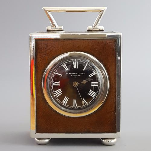 Quality Silver & Leather Covered Desk Clock Thornhill & Co London 1884 (1 of 1)