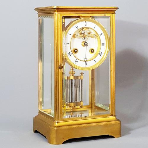 Gilt Brass Four Glass Clock with Exposed Brocot Escapement S.Marti & Cie C.1880 (1 of 1)