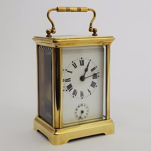 French Brass Corniche Cased Carriage Clock with Alarm C.1895 (1 of 1)