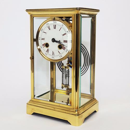 Brass Four Glass French Striking Mantle Clock C.1870 (1 of 11)