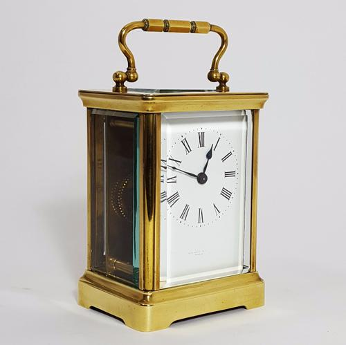 French Brass Corniche Cased Carriage Clock Signed Wallace Allan, Paris C.1890 (1 of 1)