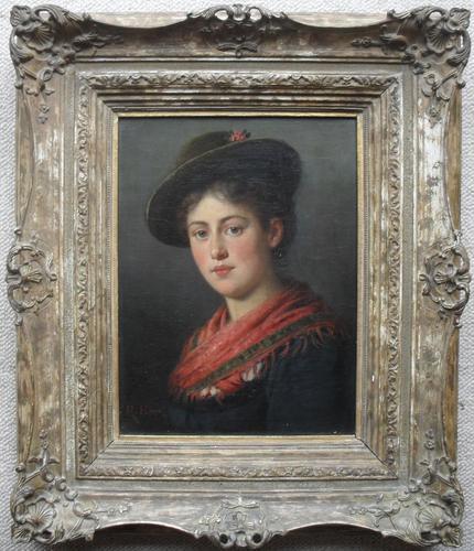 Rudolf Epp Munich Sch Portrait Oil Painting the 'Artist's Daughter' (1 of 1)