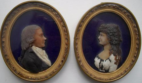 Pair of 18th Century Wax Relief Portrait Miniatures (1 of 1)