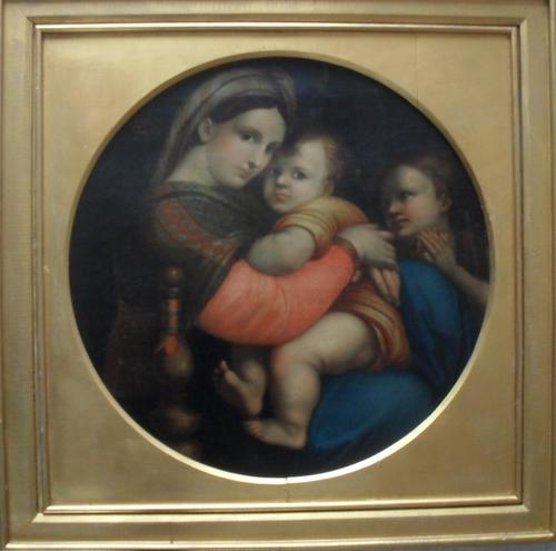 19th Century Madonna Della Seggiola after Raphael Large Oil Painting (1 of 1)