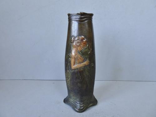 Art Nouveau Bronze Vase. Girl with Butterfly. Probably Austrian c.1900 (1 of 10)