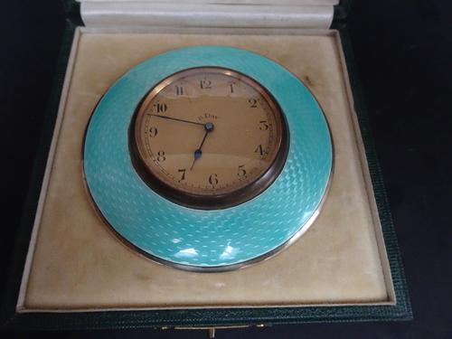 Art Deco Guilloche Enamel & Silver Gilt Clock (1 of 11)