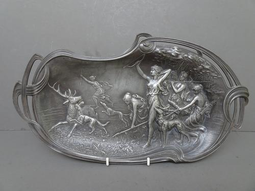 WMF Art Nouveau Pewter Tray. Diana the Huntress (1 of 11)